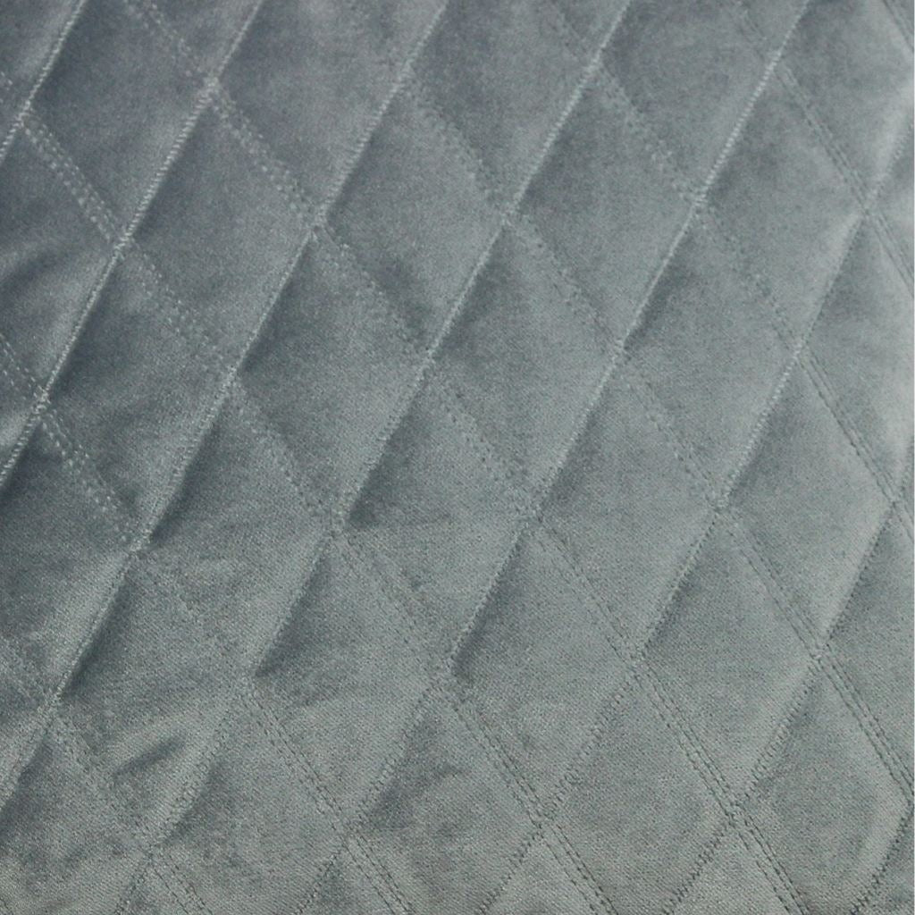 McAlister Textiles Diamond Quilted Silver Grey Velvet Cushion Cushions and Covers