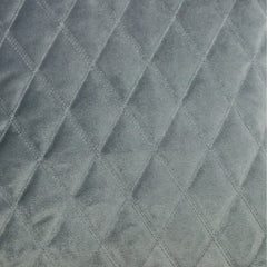 McAlister Textiles Diamond Quilted Velvet Soft Silver Cushion-Cushions and Covers-