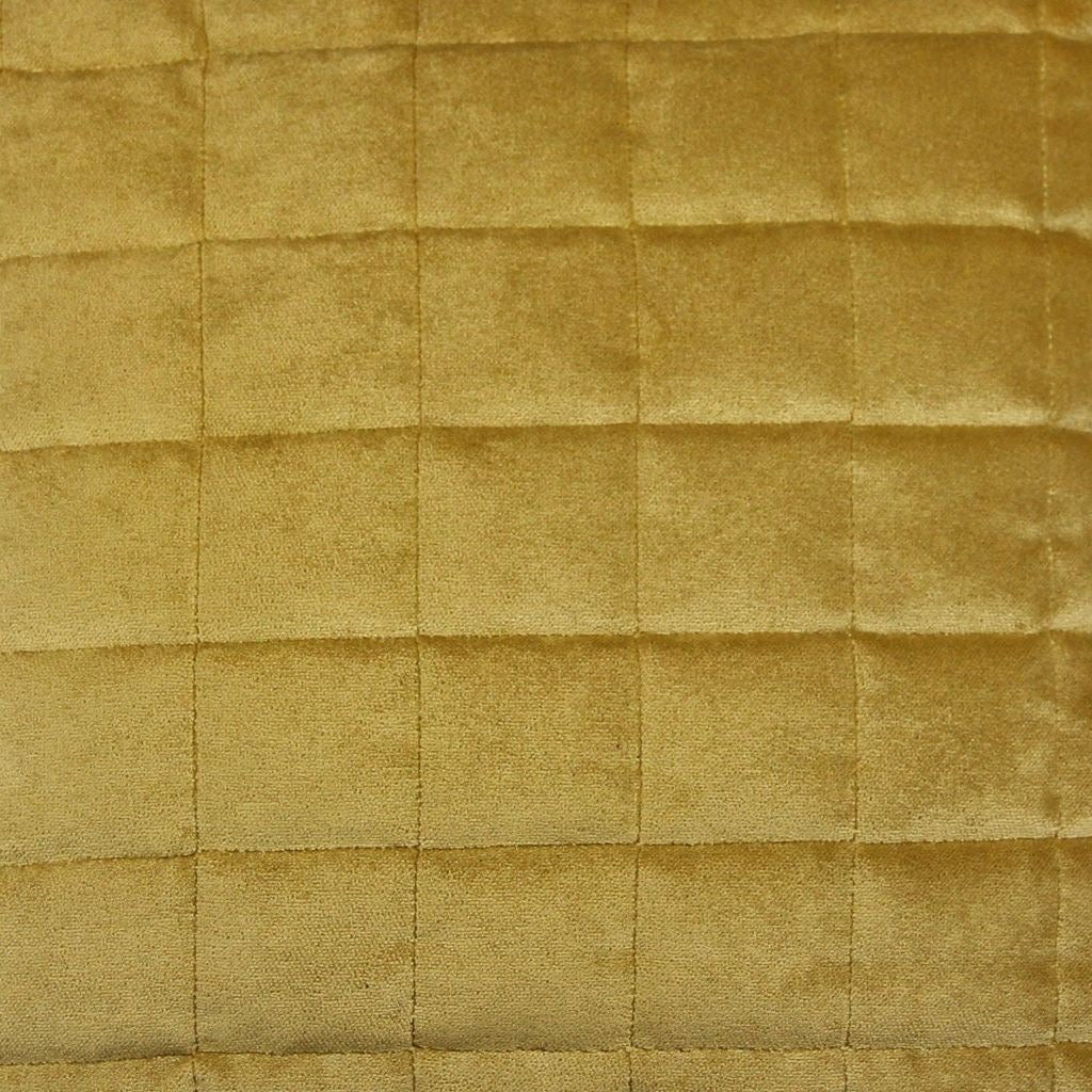 McAlister Textiles Square Quilted Yellow Gold Velvet Cushion Cushions and Covers