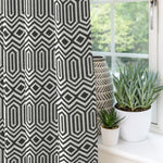 "Load image into Gallery viewer, McAlister Textiles Colorado Geometric Black Curtains Tailored Curtains 116cm(w) x 182cm(d) (46"" x 72"")"