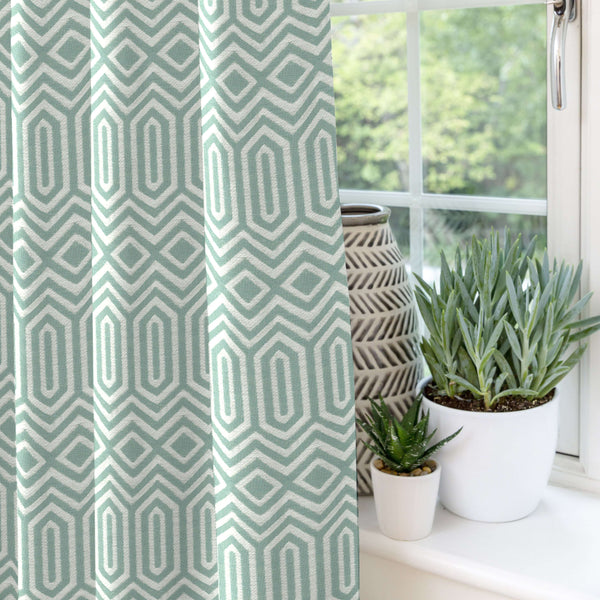 McAlister Textiles Colorado Geometric Duck Egg Blue Curtains Tailored Curtains