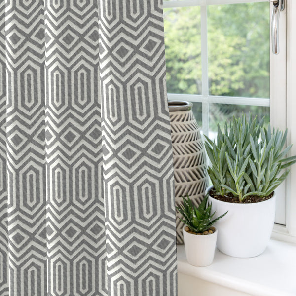 "McAlister Textiles Colorado Geometric Charcoal Grey Curtains Tailored Curtains 116cm(w) x 182cm(d) (46"" x 72"")"