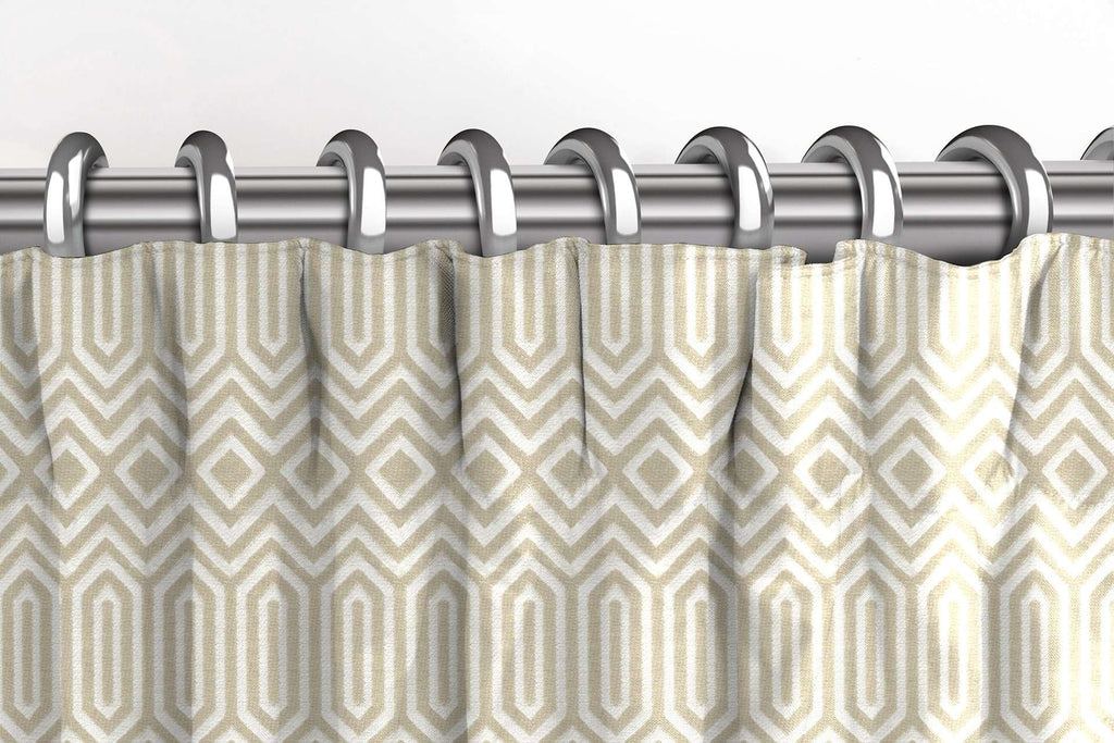 McAlister Textiles Colorado Geometric Taupe Beige Curtains Tailored Curtains