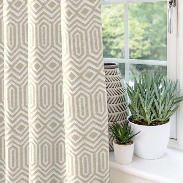 "McAlister Textiles Colorado Geometric Taupe Beige Curtains Tailored Curtains 116cm(w) x 182cm(d) (46"" x 72"")"