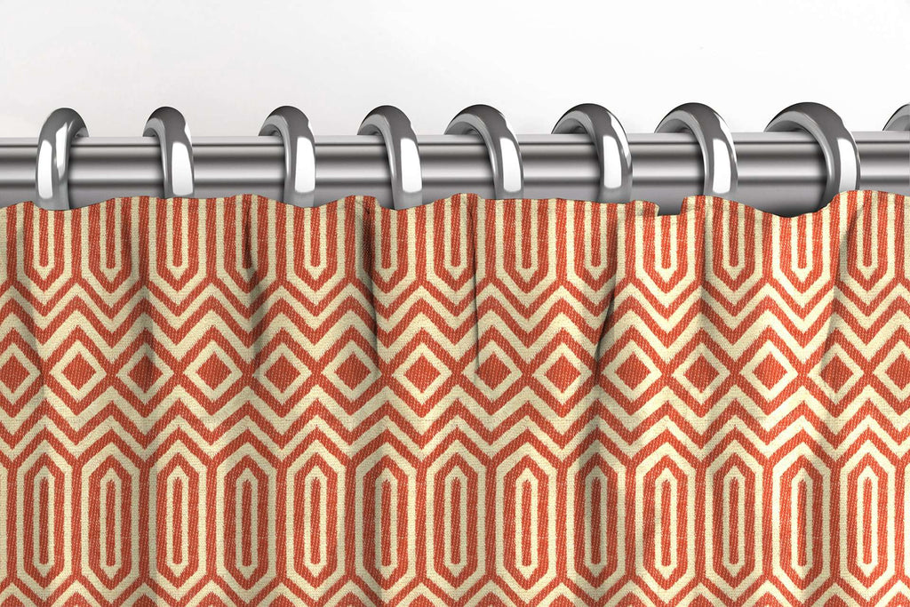 McAlister Textiles Colorado Geometric Burnt Orange Curtains Tailored Curtains