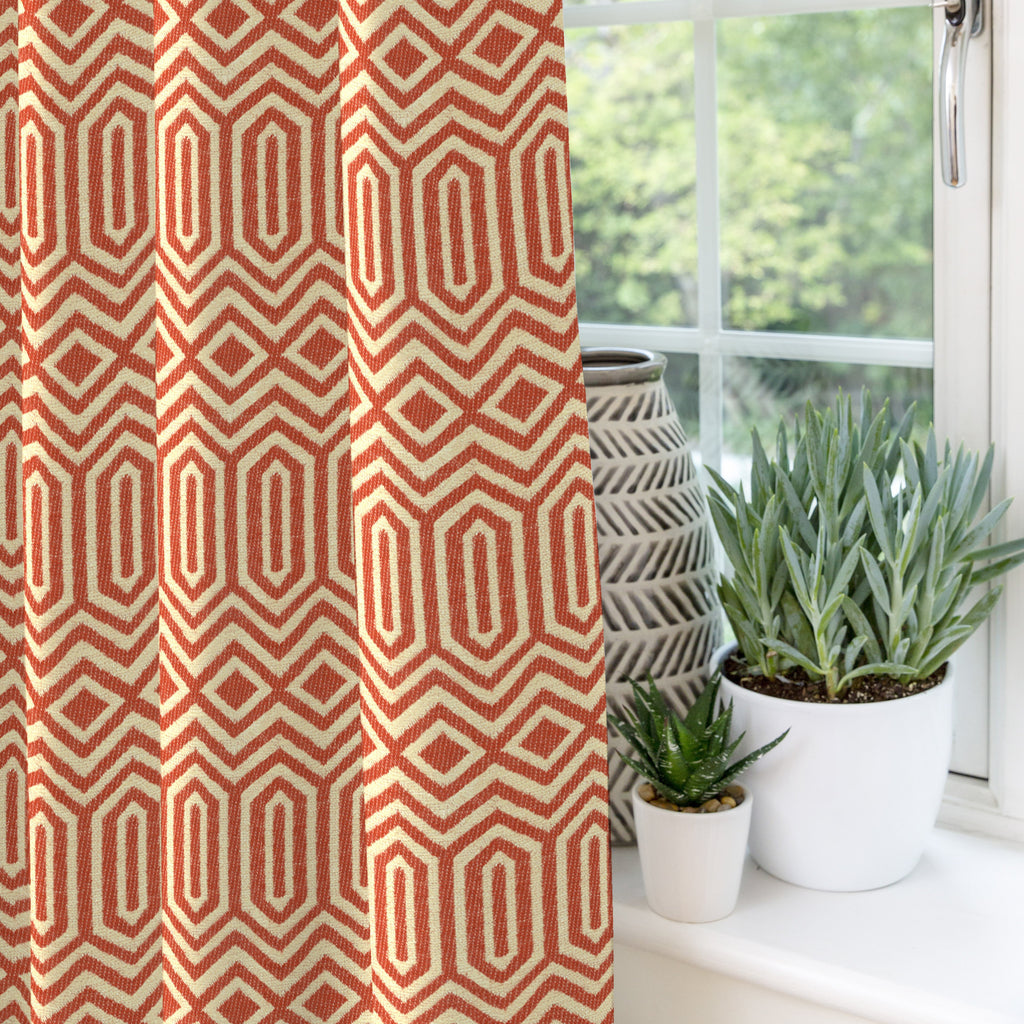 "McAlister Textiles Colorado Geometric Burnt Orange Curtains Tailored Curtains 116cm(w) x 182cm(d) (46"" x 72"")"