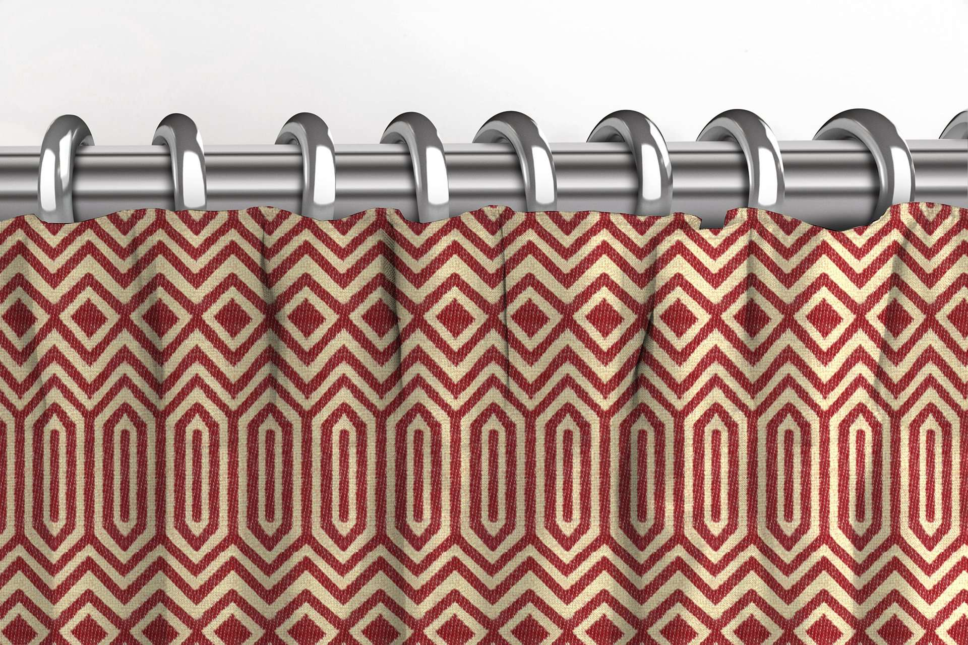 McAlister Textiles Colorado Geometric Red Curtains Tailored Curtains