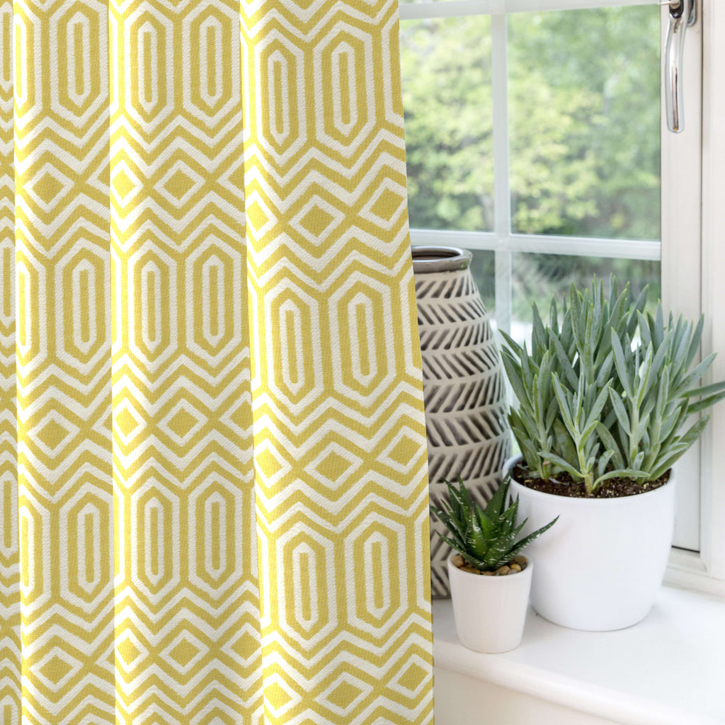 "McAlister Textiles Colorado Geometric Yellow Curtains Tailored Curtains 116cm(w) x 182cm(d) (46"" x 72"")"