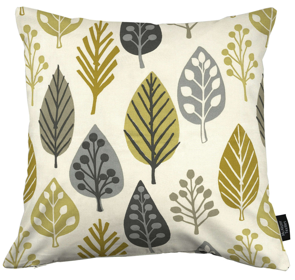 McAlister Textiles Magda Cotton Print Ochre Yellow Cushion Cushions and Covers Cover Only 43cm x 43cm