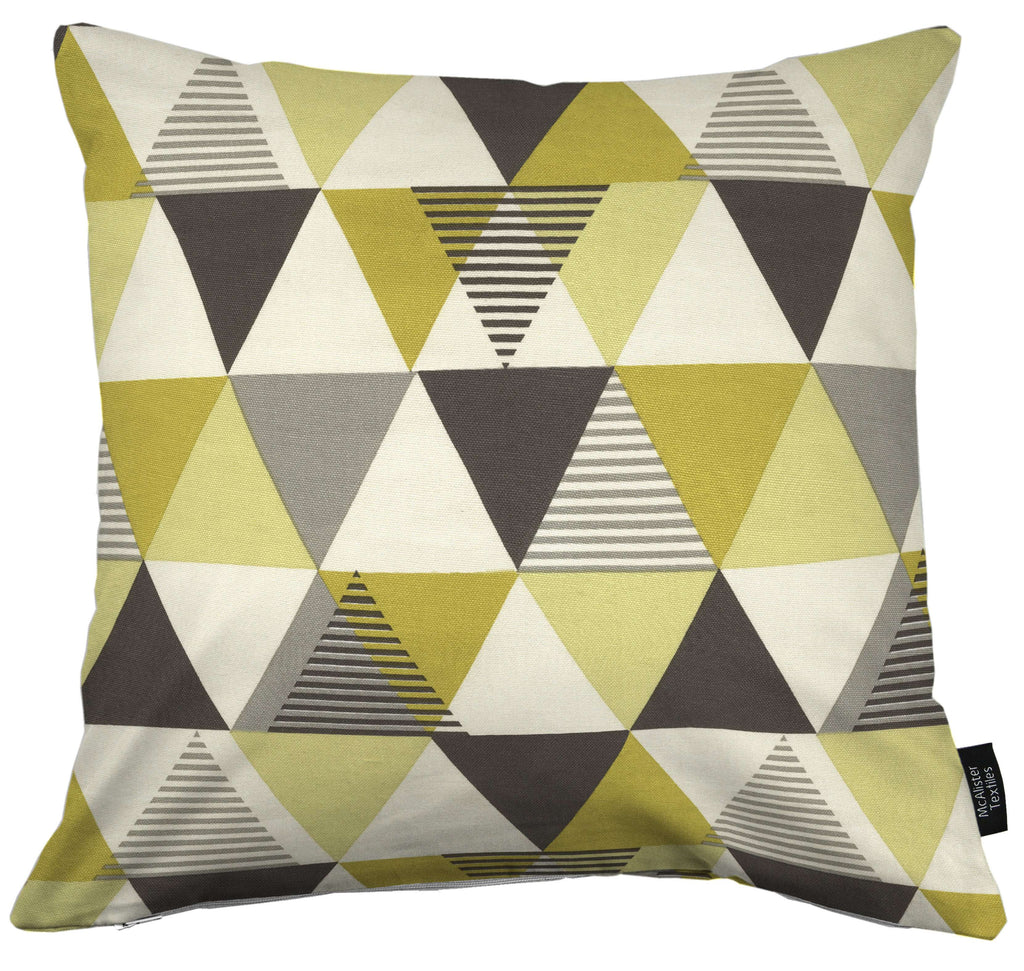 McAlister Textiles Vita Cotton Print Ochre Yellow Cushion Cushions and Covers Cover Only 43cm x 43cm