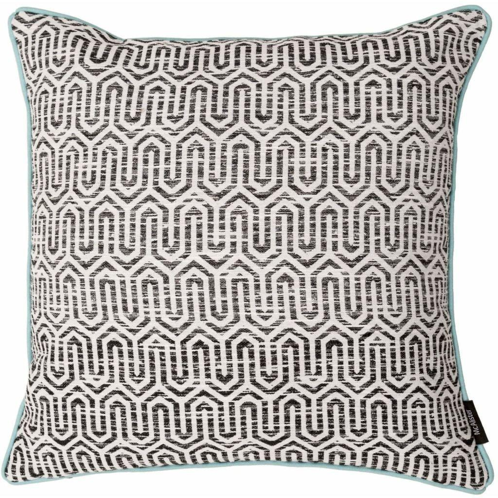 McAlister Textiles Costa Rica Black + White Abstract Cushion Cushions and Covers Polyester Filler 43cm x 43cm