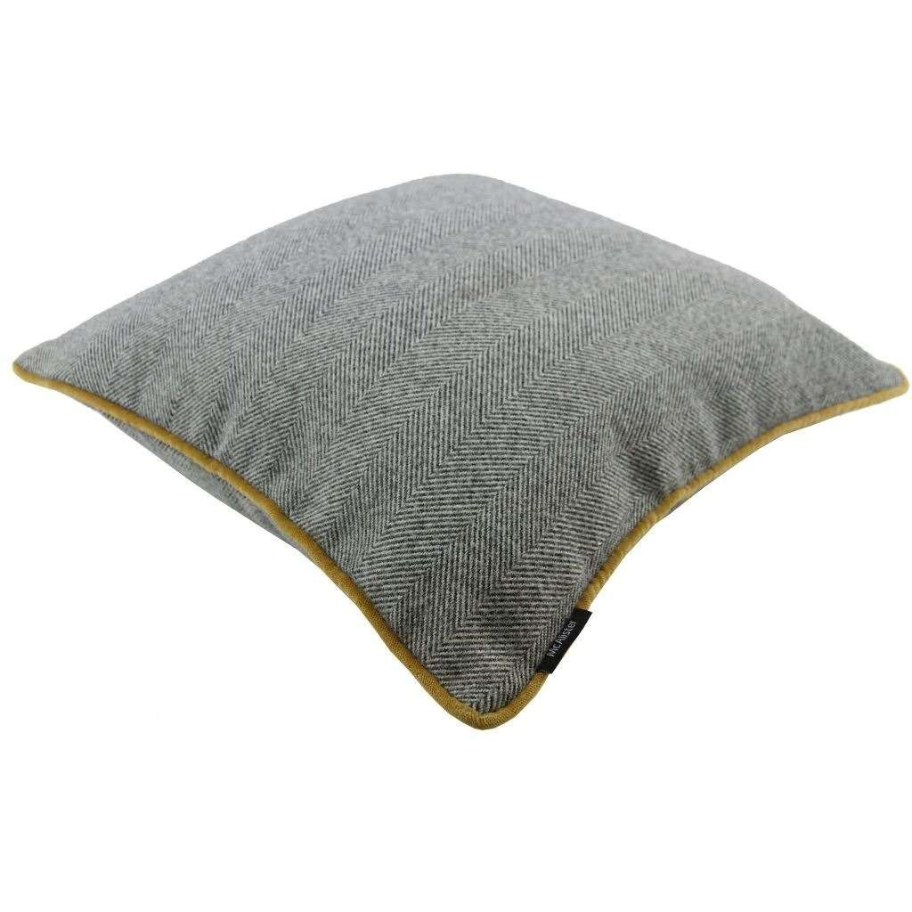 McAlister Textiles Herringbone Boutique Grey + Yellow Cushion Cushions and Covers