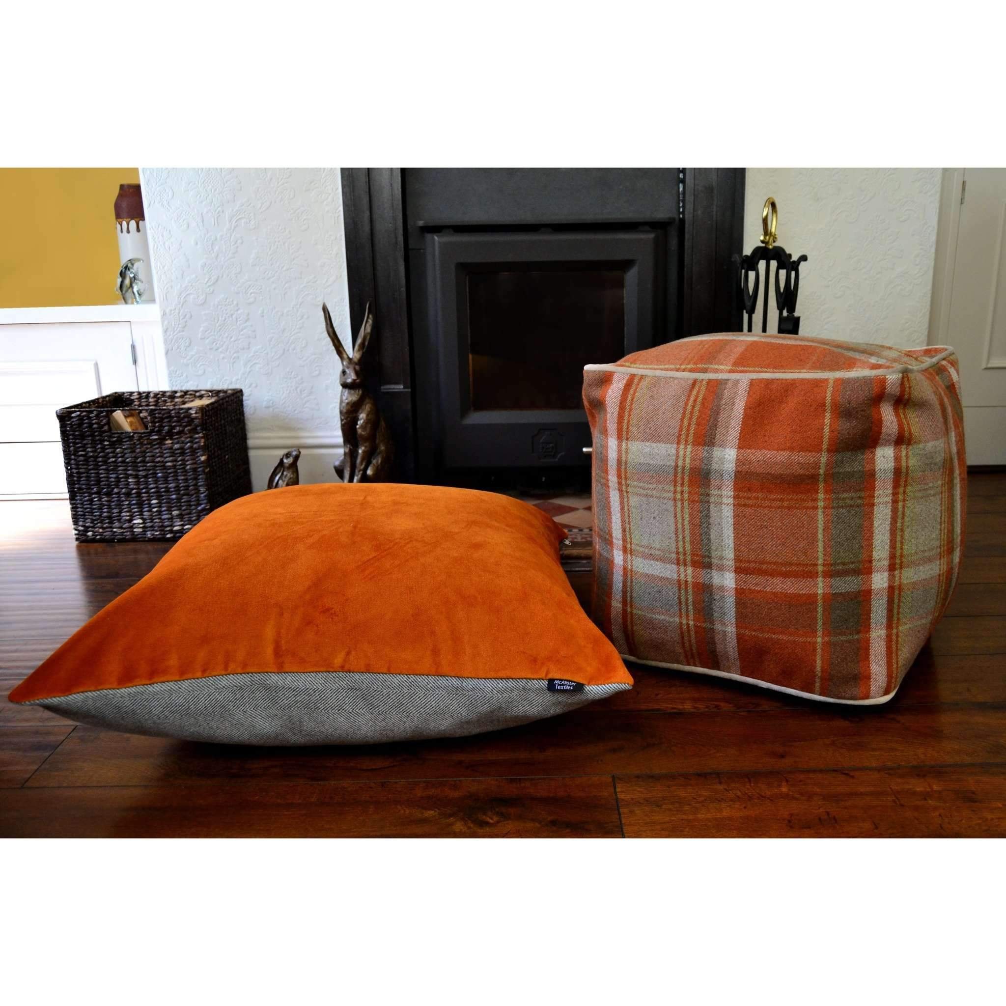 McAlister Textiles Deluxe Herringbone Grey + Orange Floor Cushion Floor Cushions