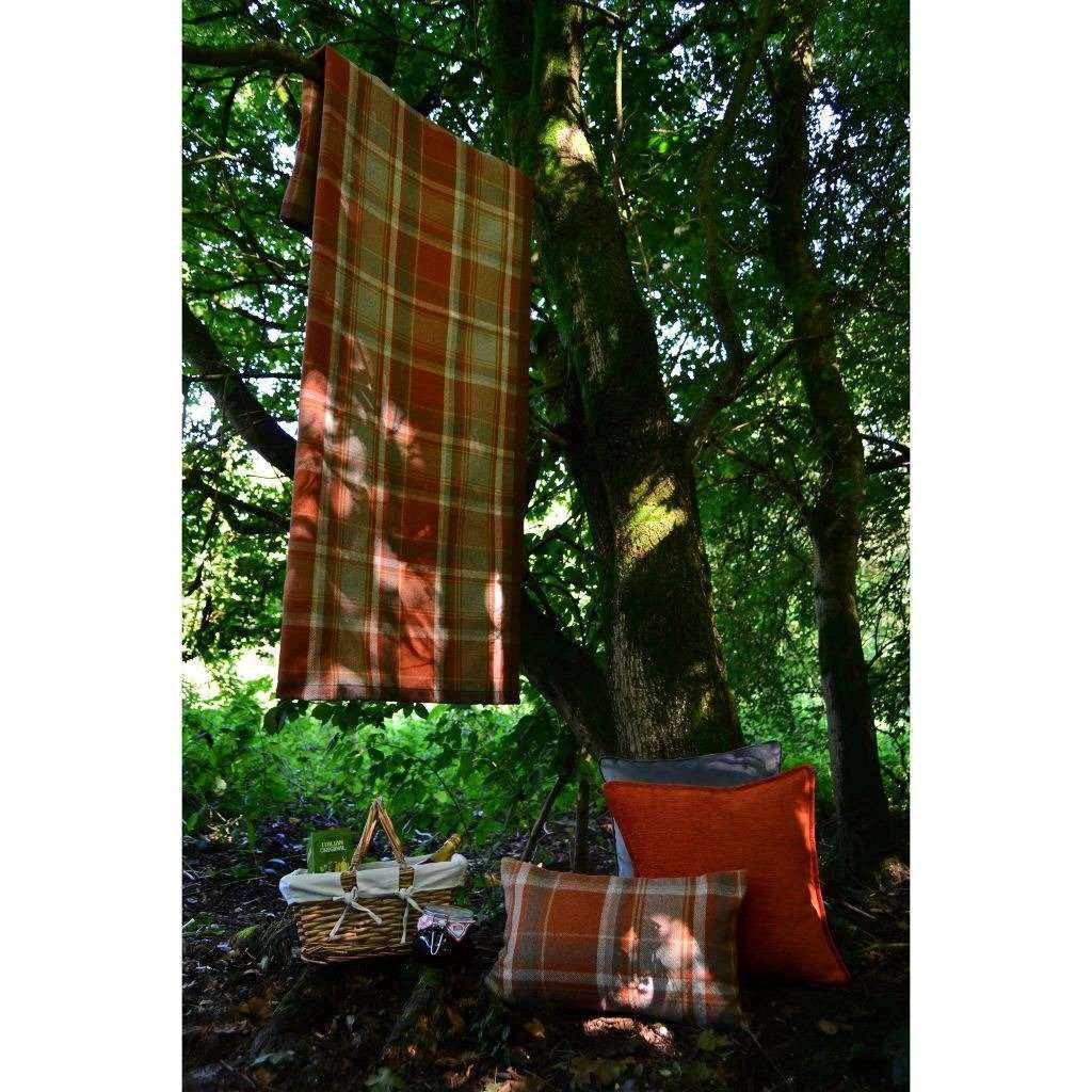 McAlister Textiles Heritage Burnt Orange + Grey Tartan Table Runner Throws and Runners