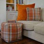Load image into Gallery viewer, McAlister Textiles Deluxe Herringbone Grey + Orange Floor Cushion Floor Cushions
