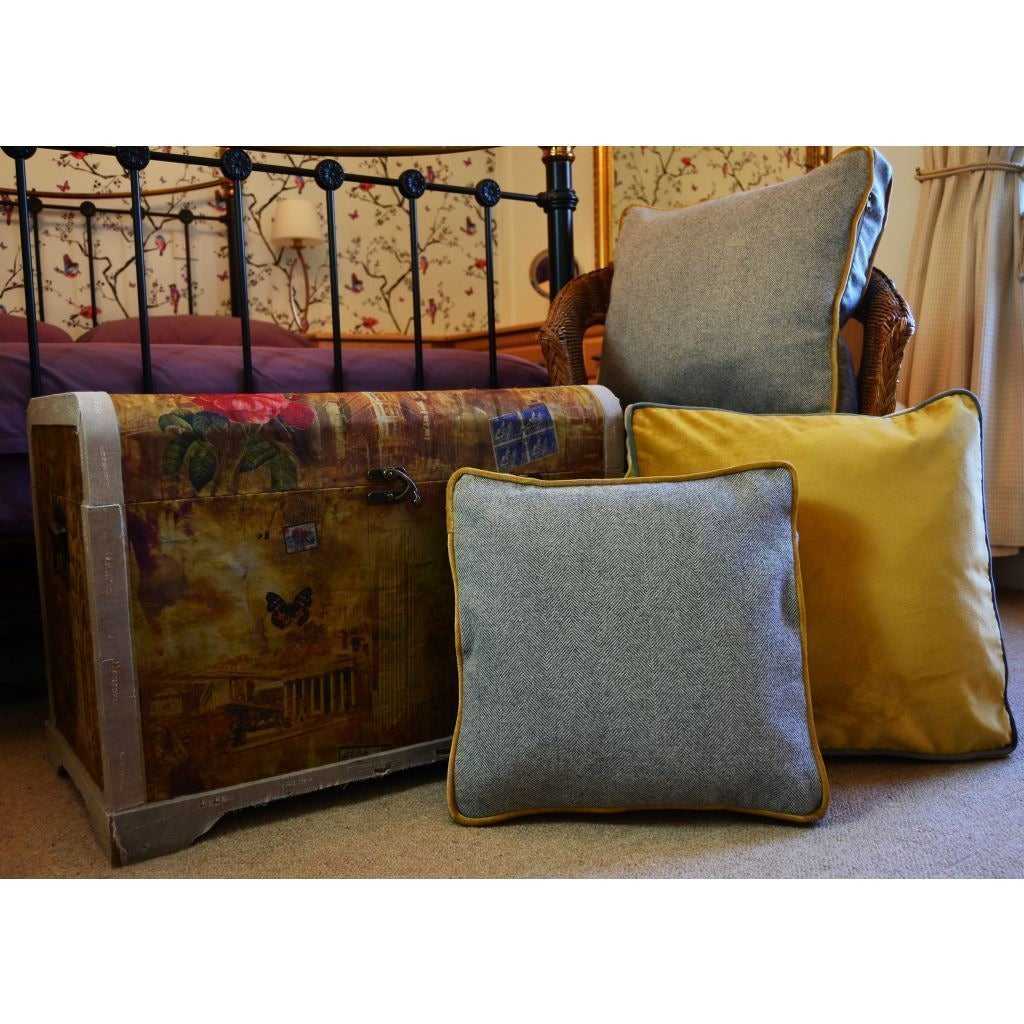 McAlister Textiles Deluxe Large Velvet Yellow + Grey Box Cushion 50cm x 50cm x 5cm Box Cushions