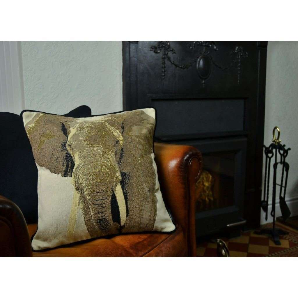 McAlister Textiles Tapestry Grey Elephant Cushion Cushions and Covers