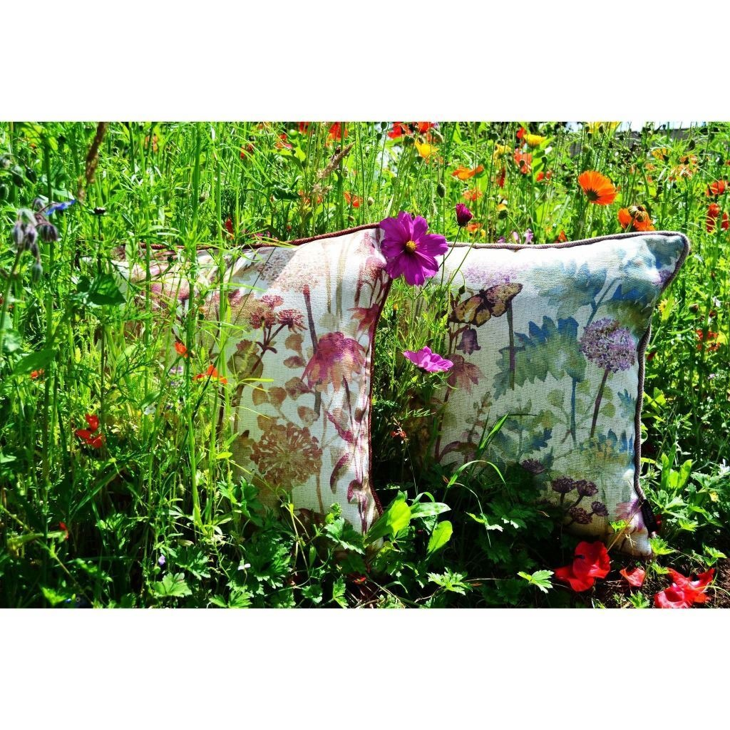 McAlister Textiles Wildflower Pastel Purple Linen Cushion Cushions and Covers