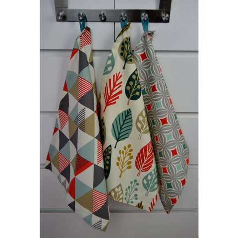 McAlister Textiles Geometric Design Burnt Orange Tea Towel Set-Kitchen Accessories-