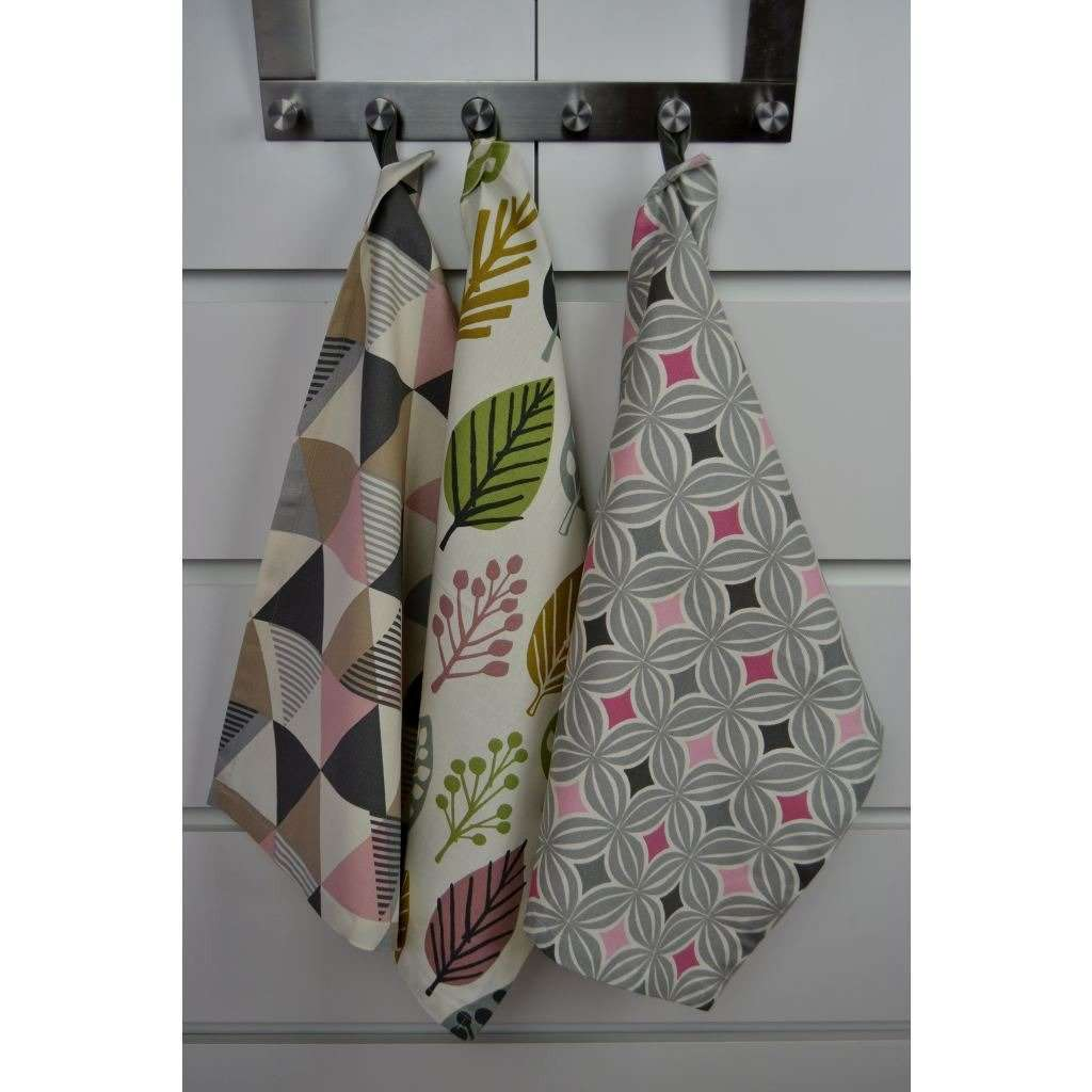 McAlister Textiles Blush Pink Cotton Tea Towel Set of 3 Kitchen Accessories
