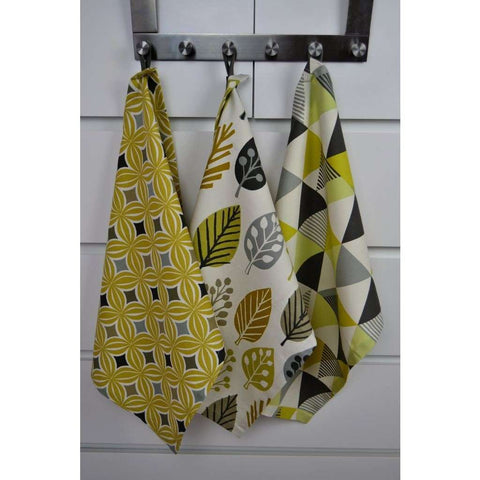 McAlister Textiles Geometric Design Ochre Yellow Tea Towel Set-Kitchen Accessories-