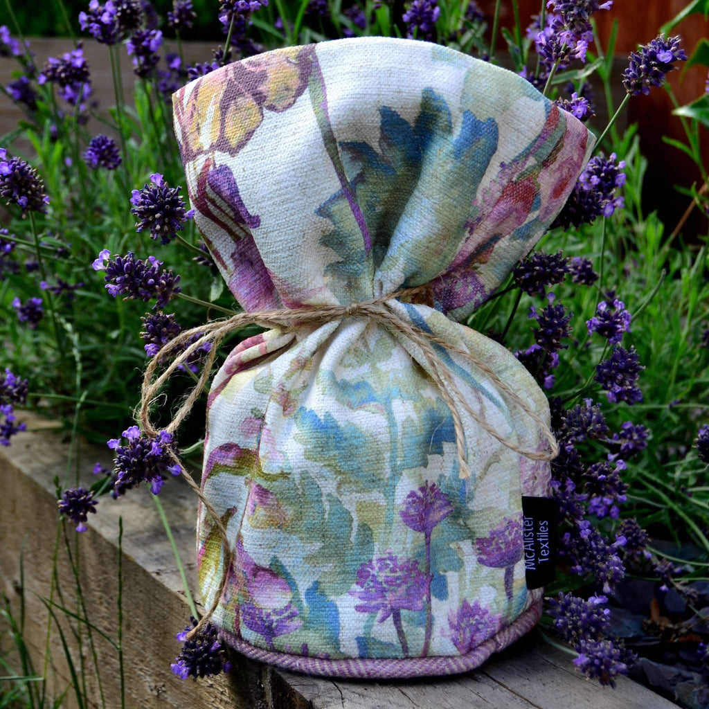McAlister Textiles Wildflower Pastel Purple Linen Door Stop Doorstops