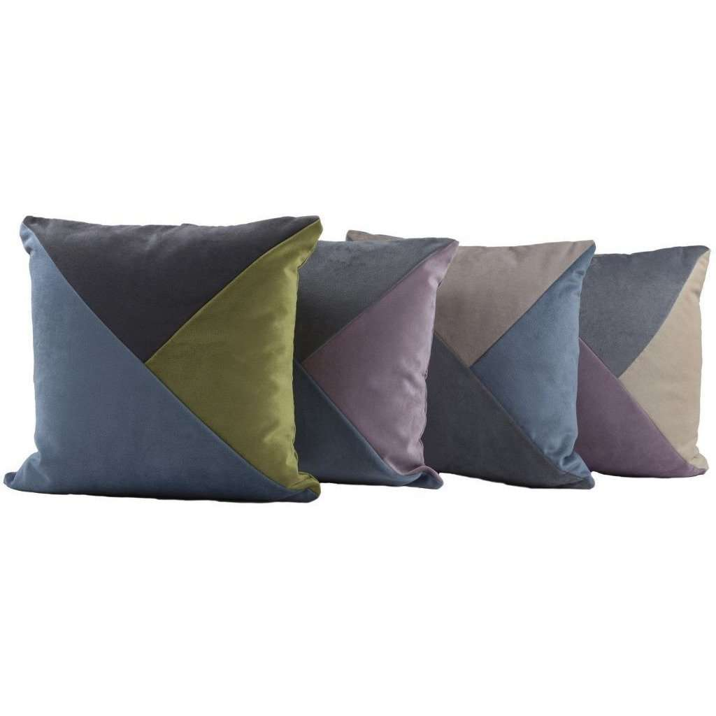McAlister Textiles Diagonal Patchwork Velvet Blue, Purple + Grey Cushion Cushions and Covers