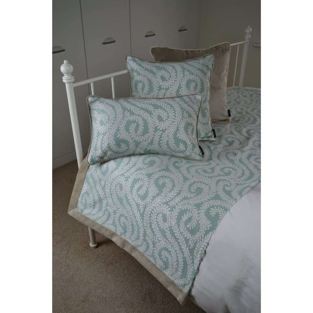 McAlister Textiles Little Leaf Duck Egg Blue Throws & Runners Throws and Runners