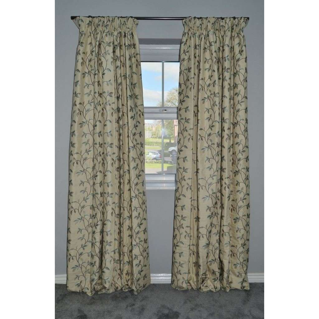 Annabel Vintage Floral Curtains - Duck Egg Blue-Tailored Curtains-