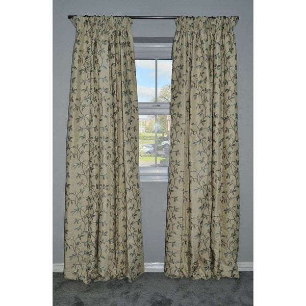 McAlister Textiles Annabel Floral Duck Egg Blue Curtains Tailored Curtains