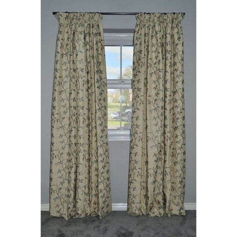 McAlister Textiles Annabel Vintage Floral Pale Duck Egg Blue Curtains-Tailored Curtains-