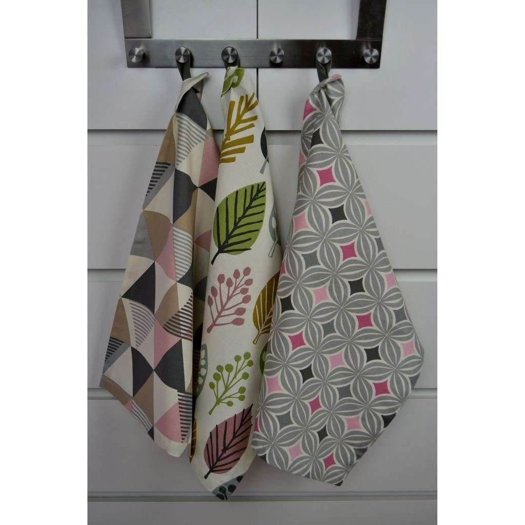 McAlister Textiles Vita Pink Cotton Tea Towel Set Kitchen Accessories