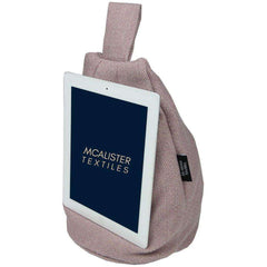 McAlister Textiles Herringbone Wool Touch Tablet Stand Bean Bag - Purple-Mini Bean Bag-
