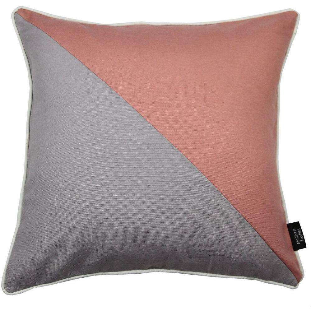 McAlister Textiles Panama Patchwork Blush Pink + Grey Cushion Cushions and Covers Cover Only 43cm x 43cm