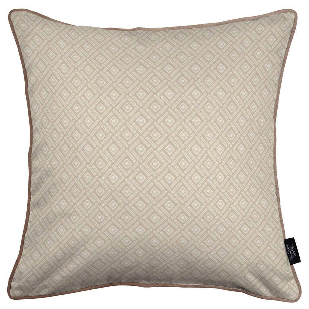 McAlister Textiles Elva Geometric Beige Grey Cushion Cushions and Covers Cover Only 43cm x 43cm