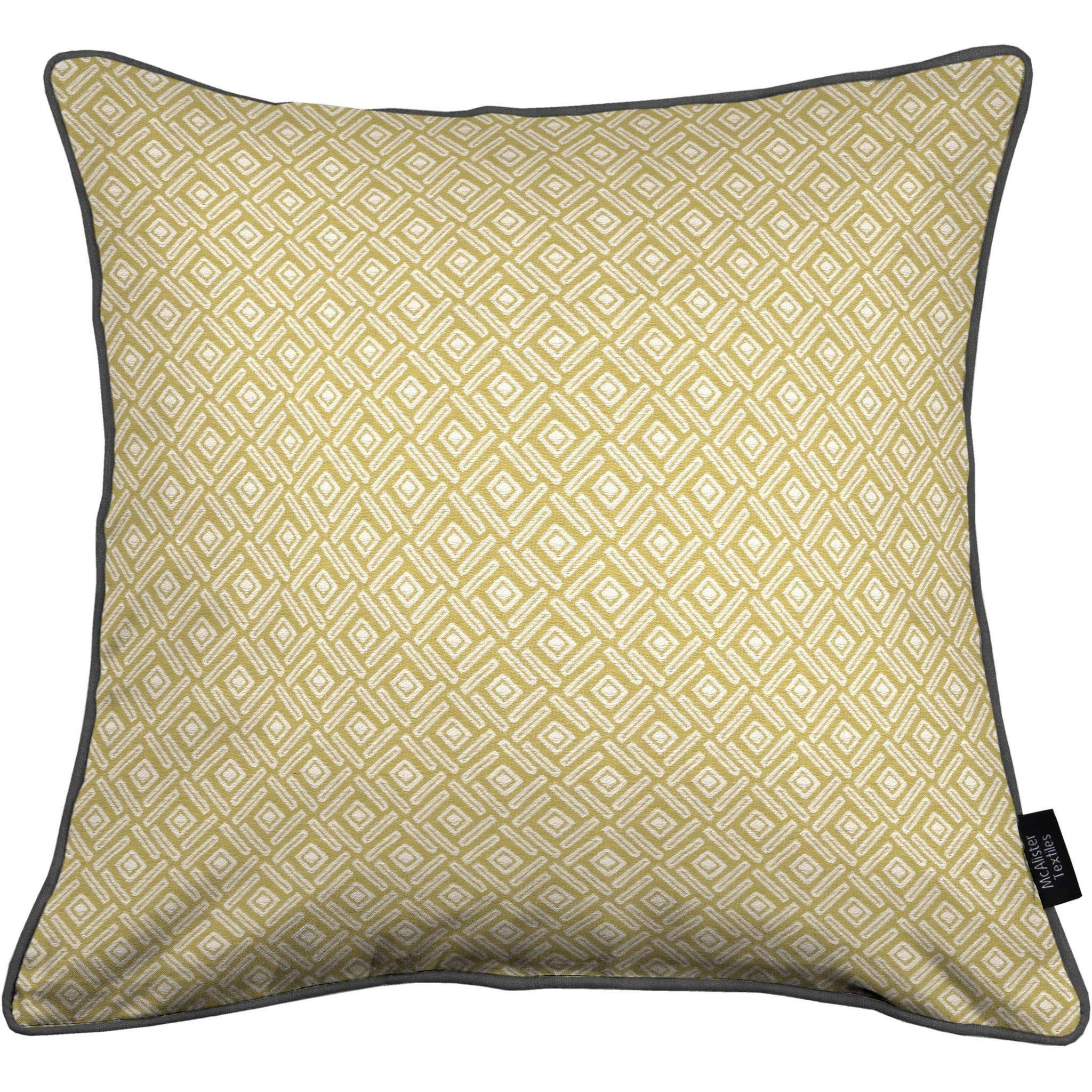 McAlister Textiles Elva Geometric Ochre Yellow Cushion Cushions and Covers Cover Only 43cm x 43cm