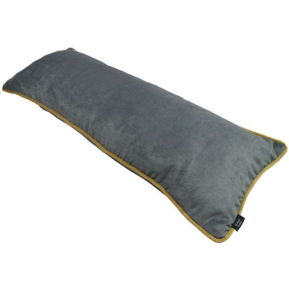 McAlister Textiles Boutique Deluxe Matt Velvet Bolster Pillow | Charcoal Grey and Ochre-Large Boudoir Cushions-