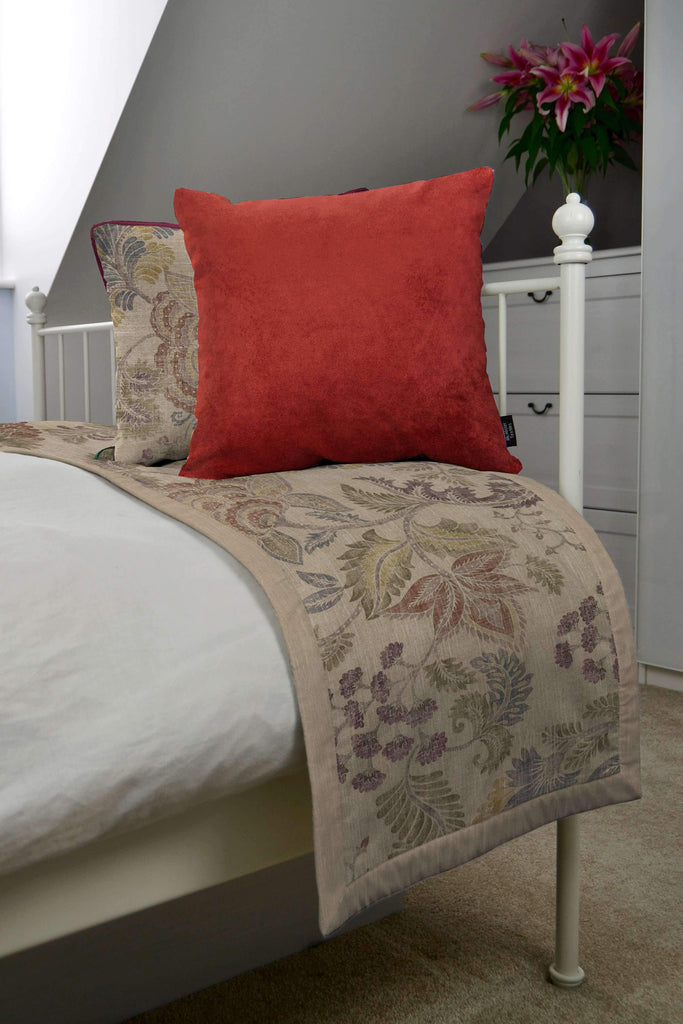 McAlister Textiles Floris Vintage Floral Linen Throw Blankets & Runners Throws and Runners