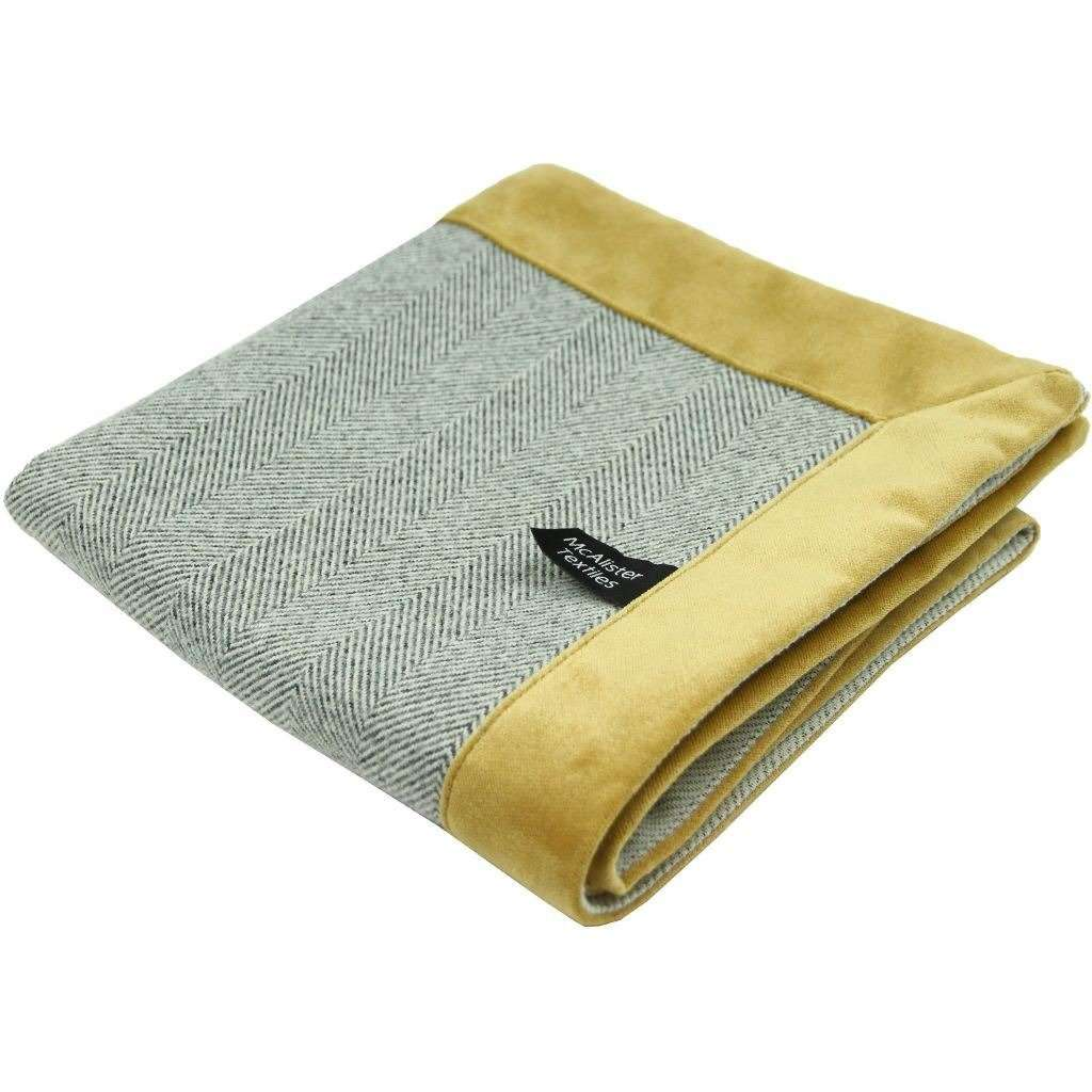 McAlister Textiles Herringbone Boutique Grey + Yellow Throw Blanket Throws and Runners Regular (130cm x 200cm)