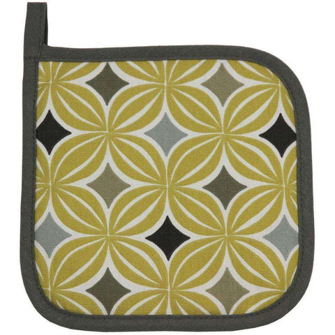 McAlister Textiles Laila Geometric Ochre Yellow Square Oven Glove Mitt-Kitchen Accessories-