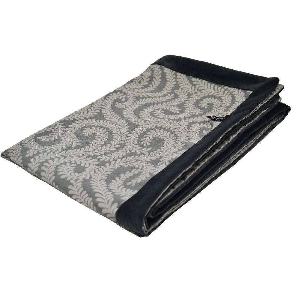 McAlister Textiles Little Leaf Charcoal Grey Throw Throws and Runners Regular (130cm x 200cm)