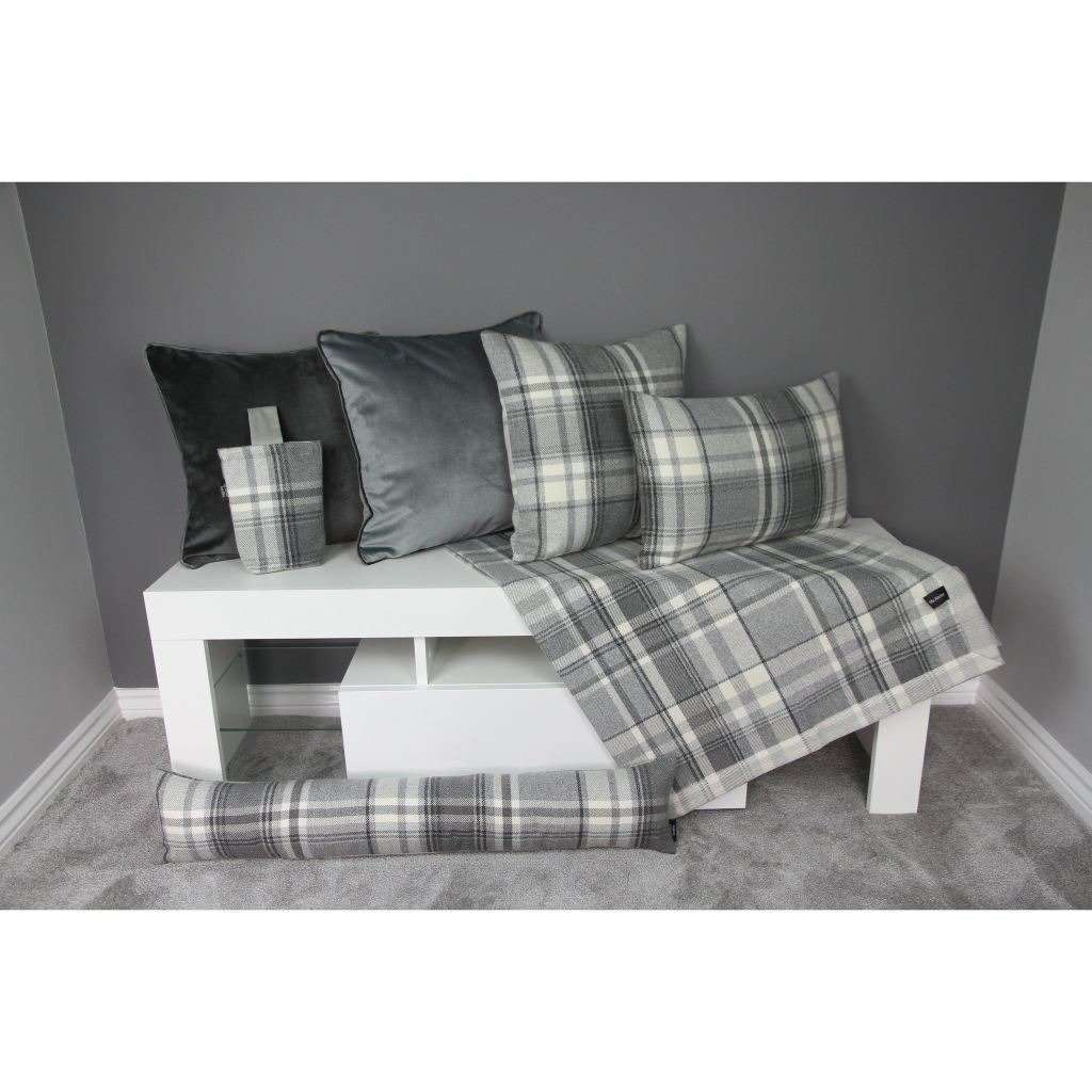 McAlister Textiles Heritage Charcoal Grey Tartan Table Runner Throws and Runners