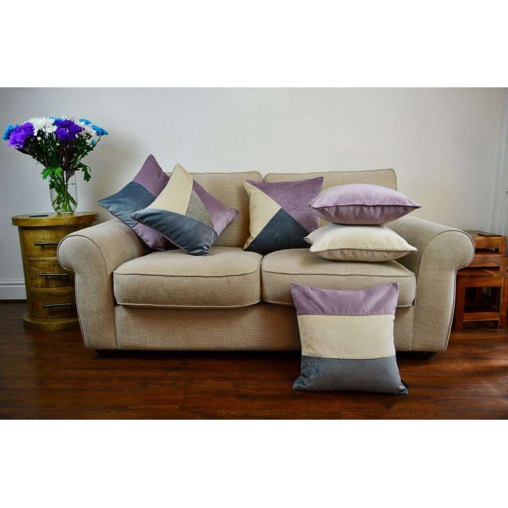 McAlister Textiles Diagonal Patchwork Velvet Purple, Gold + Grey Cushion Cushions and Covers