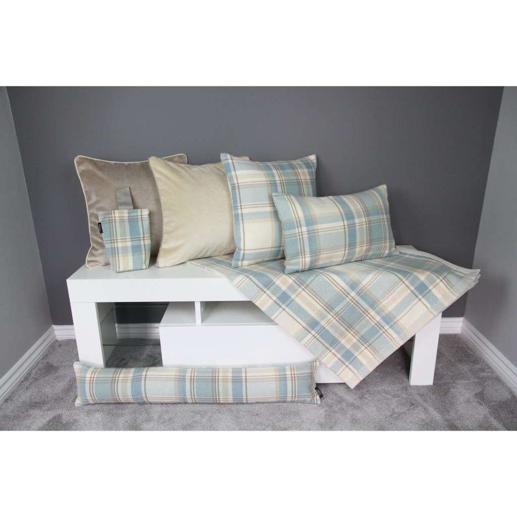 McAlister Textiles Heritage Duck Egg Blue Tartan Throw Throws and Runners