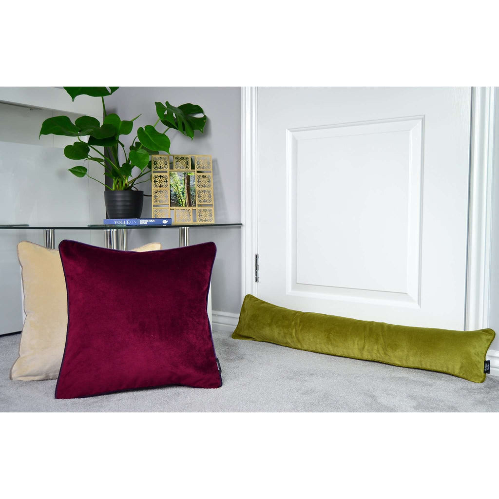 McAlister Textiles Matt Lime Green Velvet Draught Excluder Draught Excluders