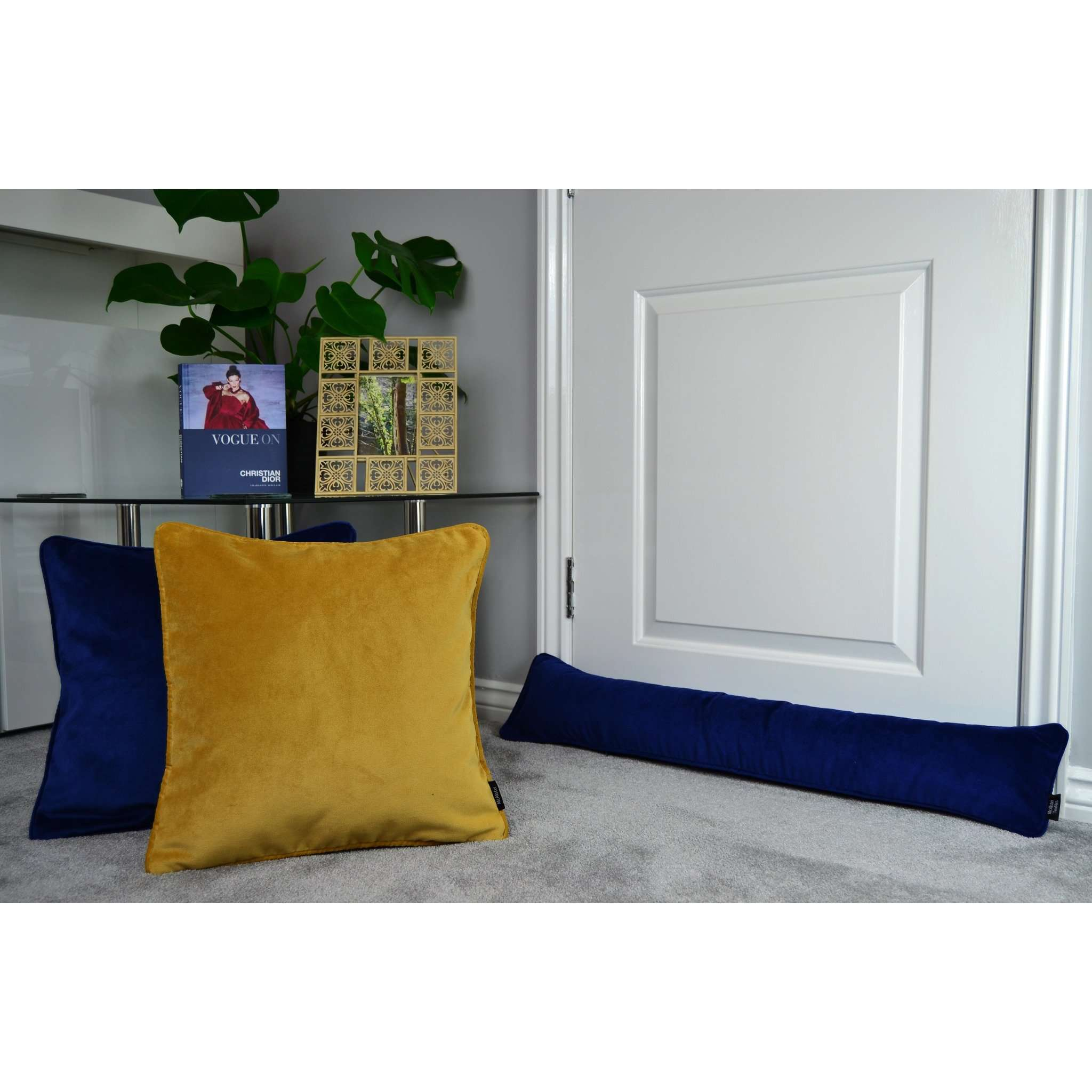 McAlister Textiles Matt Navy Blue Velvet Draught Excluder Draught Excluders