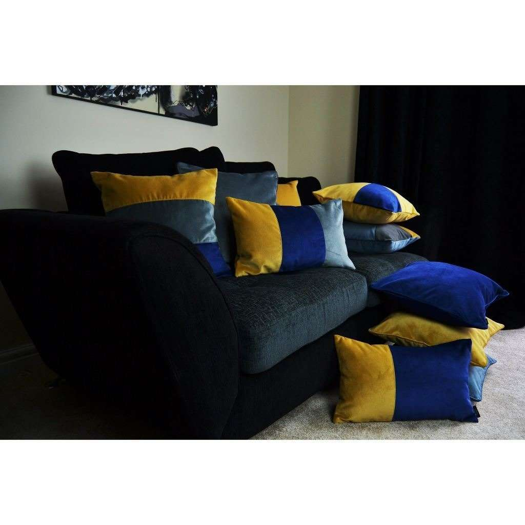 McAlister Textiles 2 Colour Patchwork Velvet Navy + Yellow Pillow Pillow