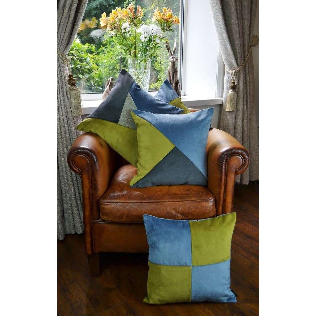 McAlister Textiles Square Patchwork Velvet Blue + Green Cushion Cushions and Covers