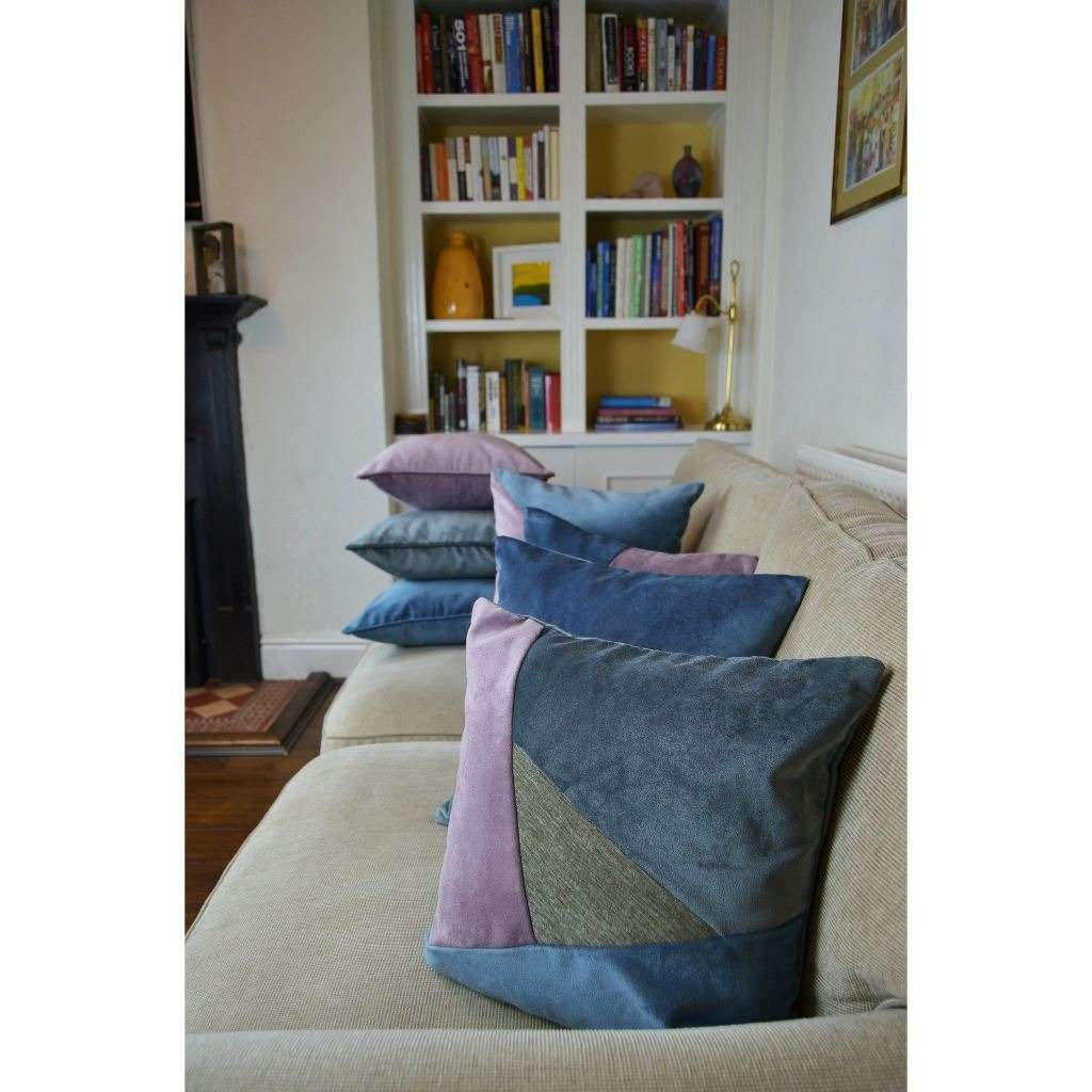 McAlister Textiles Triangle Patchwork Velvet Blue, Purple + Grey Cushion Cushions and Covers