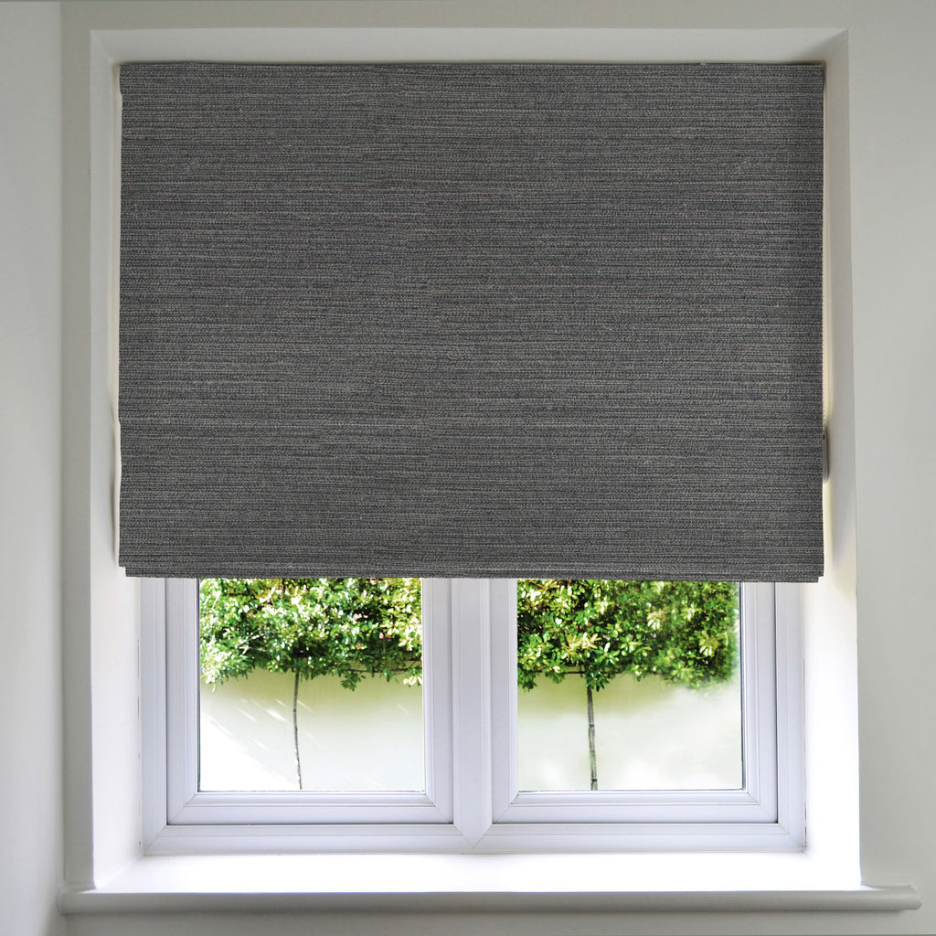 McAlister Textiles Hamleton Charcoal Grey Textured Plain Roman Blinds Roman Blinds Standard Lining 130cm x 200cm Charcoal Gray